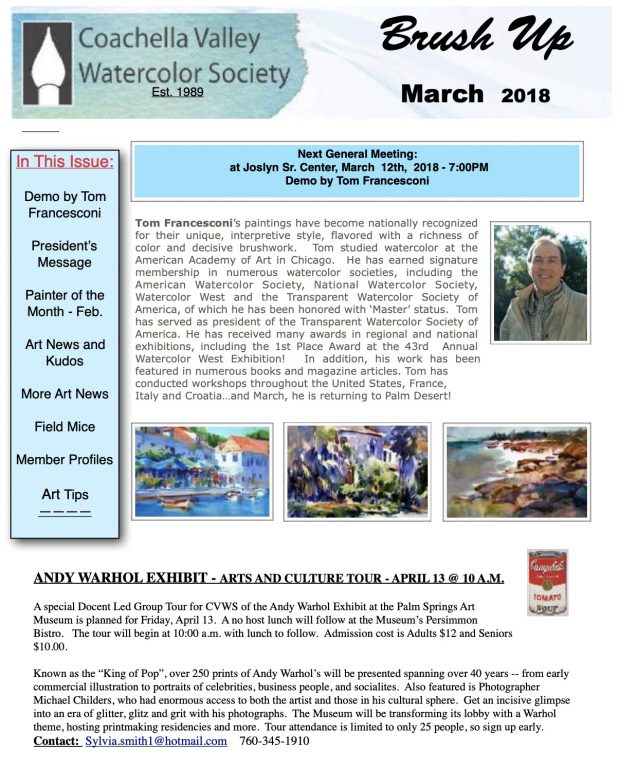 Brush Up Newsletter Image - March 2018